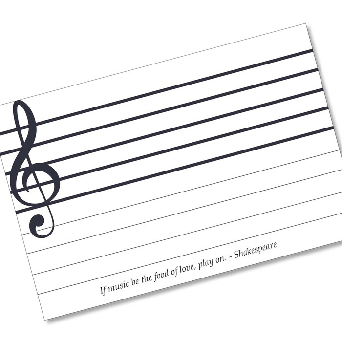 4x6 Recipe Card Music Note Card Shakespeare White 40ea