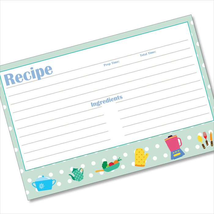 4x6 Recipe Card Kids Kitchen Blue Polka Dot  40ea