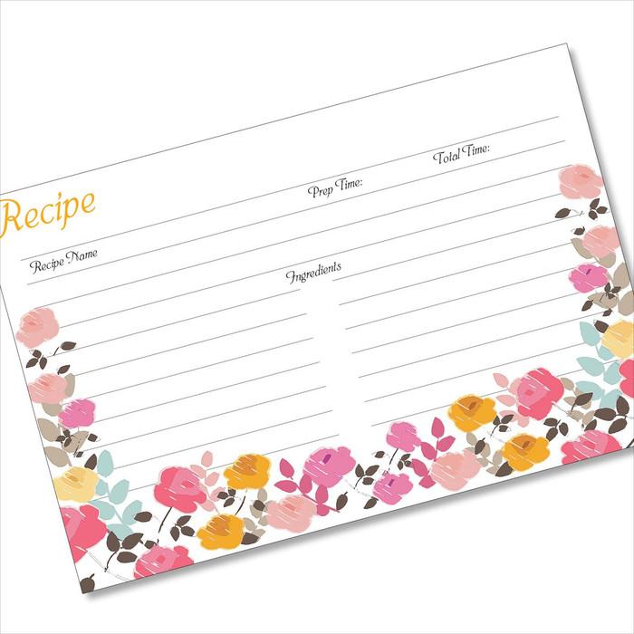 4x6 Recipe Card Garden Zoom Pink Gold 40ea