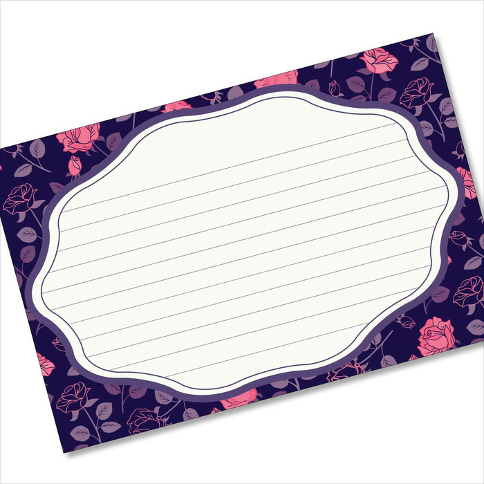4x6 Recipe Card Rose Pattern Purple Notecard or Gift Card or  40ea