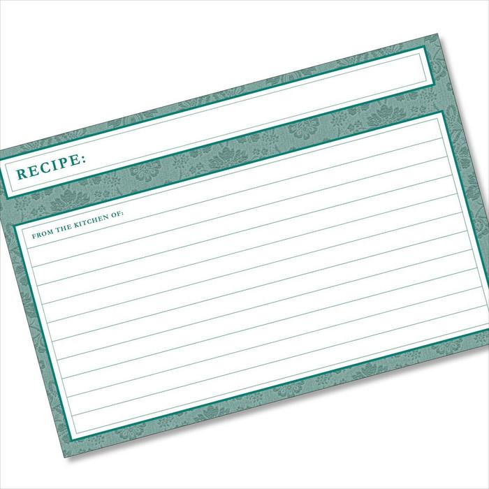 4x6 Recipe Card Agatha Teal Green 40ea