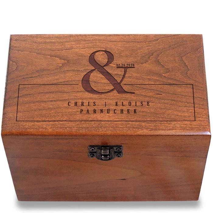 Ampersand Cherry Personalized 4x6 Recipe Card Box