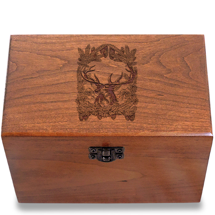 Deer In Pine Cherry Personalized 4x6 Recipe Card Box