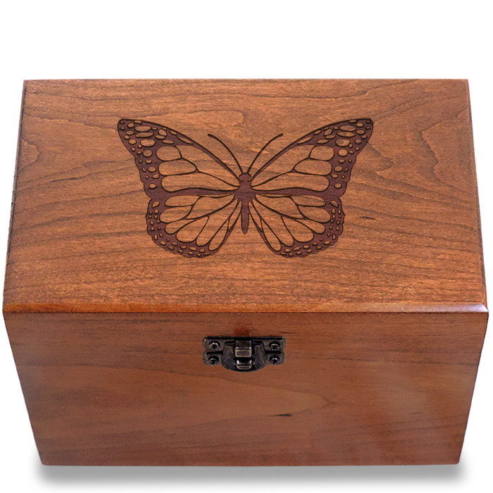 Butterfly Cherry Personalized 4x6 Recipe Card Box