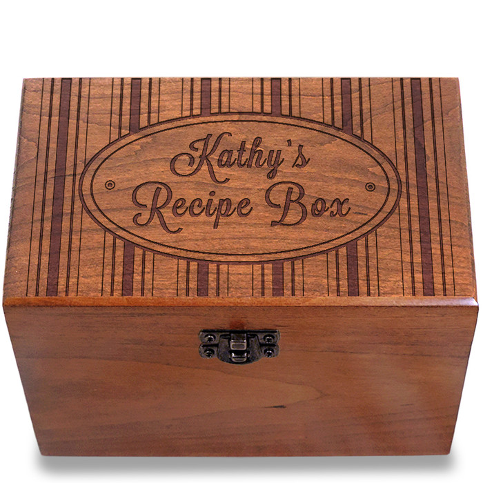 Hat Box Personalized Cherry 4x6 Recipe Card Box