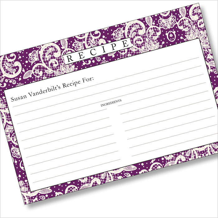 Personalized 4x6 Recipe Card Lace Settings Plum Purple 40ea