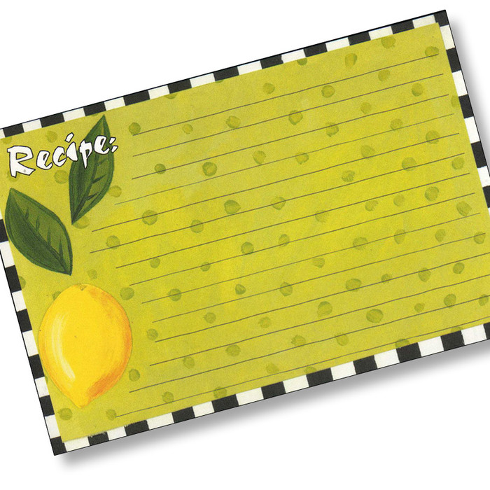 4x6  Designer Recipe Cards with Covers - Lemon 16ea