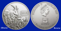 2015 Year of the Goat $5 Silver Coin with Antique Finish
