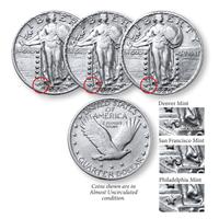 3-Coin Standing Liberty Mint Mark Set F/Better