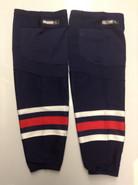REEBOK EDGE CUSTOM HOCKEY SOCKS COLUMBUS BLUE JACKETS NAVY BLUE PRO STOCK NHL XL USED