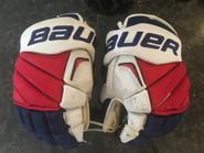"""Bauer APX2 Pro Stock Custom Hockey Gloves 14"""" NY Rangers Moore used"""