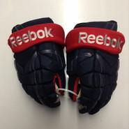 "Reebok 11KP Pro Stock Custom Hockey Gloves 14"" Columbus Blue Jackets used"