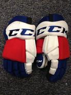 "CCM HGTKPP Pro Stock Custom Hockey Gloves 14"" Hartford Wolfpack #49 used"