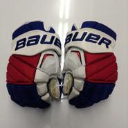 """Bauer APX2 Pro Stock Custom Hockey Gloves 15"""" NY Rangers used #6"""