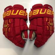 "Bauer Nexus 1000 Pro Stock Custom Hockey Gloves 14"" Ferris State Bulldogs used"