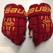 "Bauer Nexus 1000 Pro Stock Custom Hockey Gloves 15"" Ferris State Bulldogs used #16"