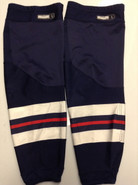 CCM EDGE CUSTOM HOCKEY SOCKS HARTFORD WOLFPACK NAVY BLUE PRO STOCK AHL LARGE USED 17' STYLE