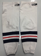 CCM EDGE CUSTOM HOCKEY SOCKS HARTFORD WOLFPACK WHITE PRO STOCK AHL X-LARGE XL USED 17' STYLE