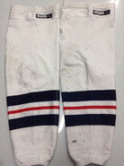 CCM EDGE CUSTOM HOCKEY SOCKS HARTFORD WOLFPACK WHITE PRO STOCK AHL LARGE USED 17' STYLE
