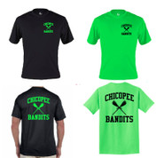 Chicopee Lax Bandits Badger C2 Short Sleeve Moisture Wicking Tee Shirt Big Back Logo