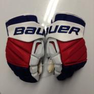 "Bauer APX2 Pro Stock Custom Hockey Gloves 15"" NY Rangers used SUMMERS"