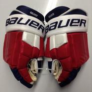 "Bauer E-Pro Custom Hockey Gloves Pro Stock 15"" Wide NHL Girardi NY Rangers used"