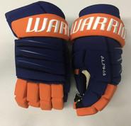 """Warrior Alpha QX Pro Custom Pro Stock Hockey Gloves NY Islanders 14"""" NHL"""