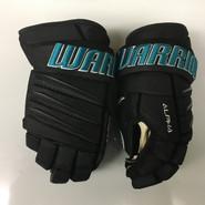 "Warrior Alpha QX Pro Custom Pro Stock Hockey Gloves San Jose Sharks 15"" NHL"