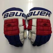 """Bauer Nexus 1000 Pro Stock Custom Hockey Gloves 15"""" NY Rangers used"""