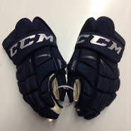 "CCM 10KN Pro Stock Custom Hockey Gloves 14"" AHL Navy used #7"