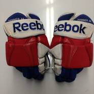 "Reebok 90PR  Pro Stock Custom Hockey Gloves 14"" New York Rangers used"