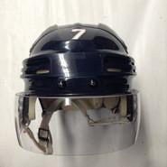 BAUER 4500 PRO STOCK HOCKEY HELMET NAVY BLUE SMALL SPRINGFIELD THUNDERBIRDS AHL #7