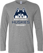 Northeast Huskies Gildan Cotton Long Sleeve T Shirt Sport Grey