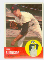 1963 Topps Baseball 19 Pete Burnside Baltimore Orioles Very Good to Excellent