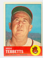 1963 Topps Baseball 48 Birdie Tebbetts Cleveland Indians Excellent