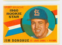1960 Topps Baseball 124 Jim Donohue St. Louis Cardinals Excellent