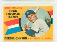 1960 Topps Baseball 134 Deron Johnson New York Yankees Excellent to Excellent Plus