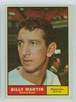 1961 Topps Baseball 89 Billy Martin Milwaukee Braves Excellent to Mint