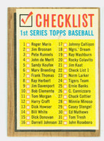1962 Topps Baseball 22 Checklist One BACK 121-176  Excellent