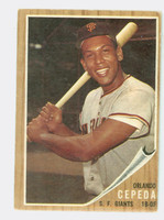 1962 Topps Baseball 40 Orlando Cepeda San Francisco Giants Very Good to Excellent