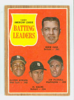 1962 Topps Baseball 51 AL Batting Ldrs Very Good to Excellent