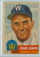 1953 Topps Baseball 51 Frank Campos Washington Senators Good