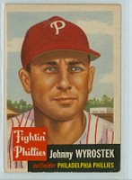 1953 Topps Baseball 79 Johnny Wyrostek Single Print Philadelphia Phillies Good to Very Good