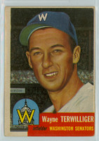 1953 Topps Baseball 159 Wayne Terwilliger Washington Senators Good to Very Good