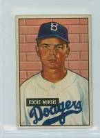 1951 Bowman Baseball 117 Eddie Miksis Brooklyn Dodgers Very Good to Excellent