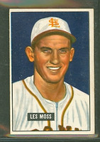1951 Bowman Baseball 210 Les Moss Boston Red Sox Very Good to Excellent