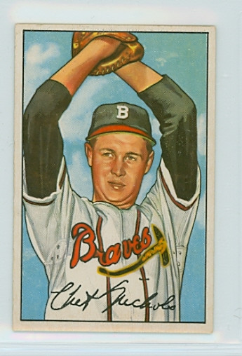 1952 Bowman Baseball 120 Chet Nichols Boston Braves Very Good To