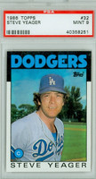 1986 Topps Baseball 32 Steve Yeager Los Angeles Dodgers PSA 9 Mint
