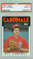 1986 Topps Baseball 112 Bill Campbell St. Louis Cardinals PSA 9 Mint