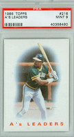 1986 Topps Baseball 216 A's Leaders Oakland Athletics PSA 9 Mint